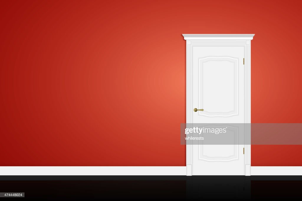 Closed white door on red wall. Vector