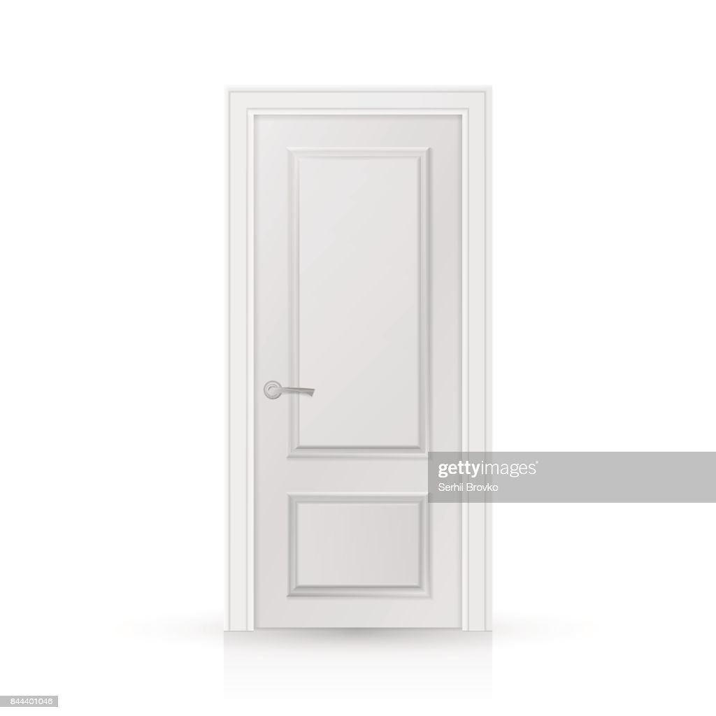 Closed white entrance door isolated on white background.