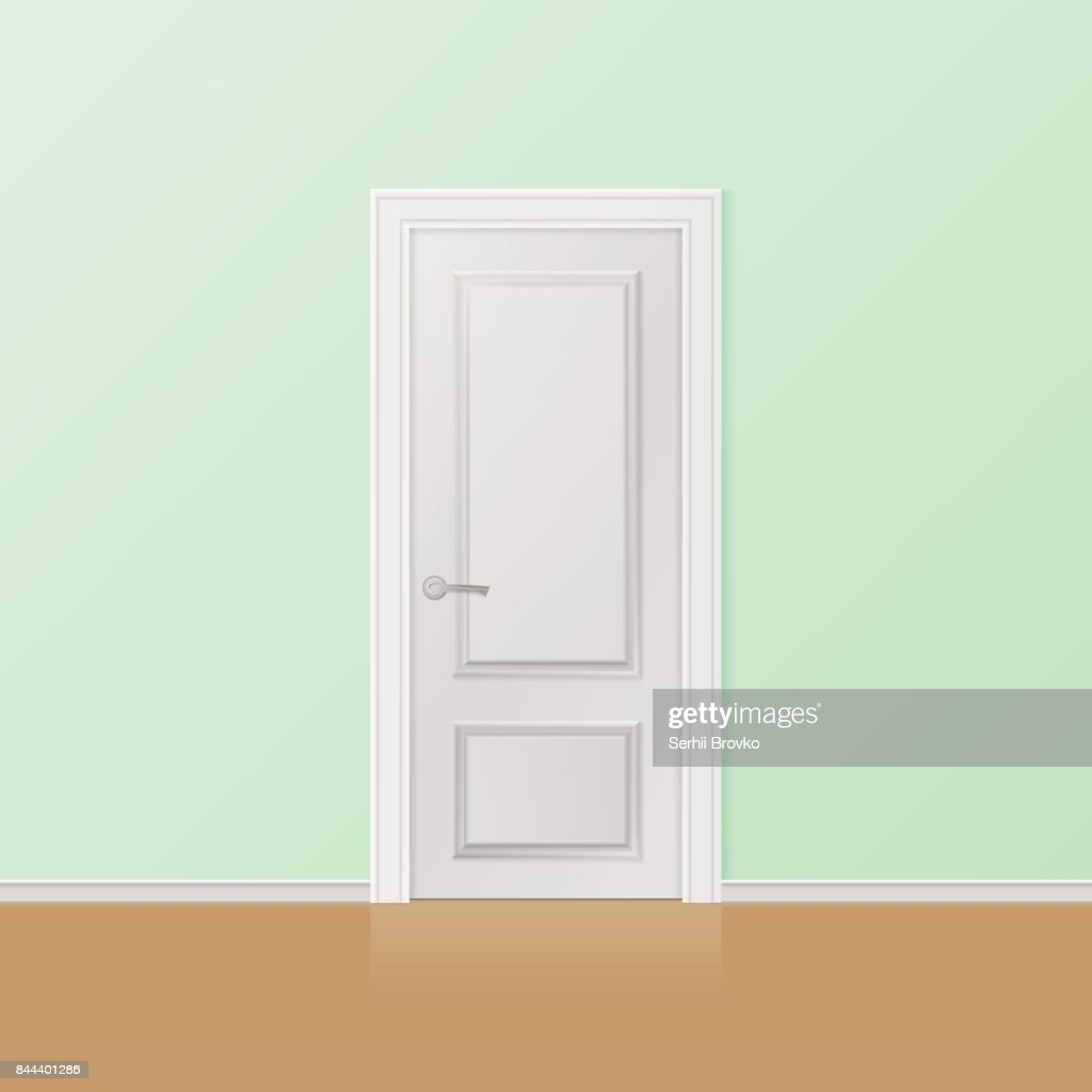 Closed white entrance door.