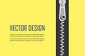 Closed zipper for clothes. Cutting and sewing theme,Yellow background