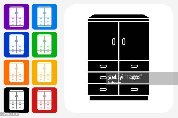 Closet Icon Square Button Set