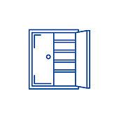 Closet line icon concept. Closet flat  vector symbol, sign, outline illustration.