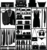 Closet Wardrobe Cupboard with Accessories for Man and Woman Fashion Wear Silhouette Vector