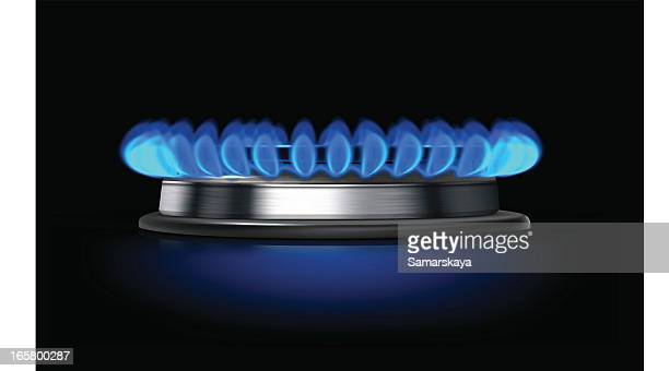 Close-up of a gas burner with fire