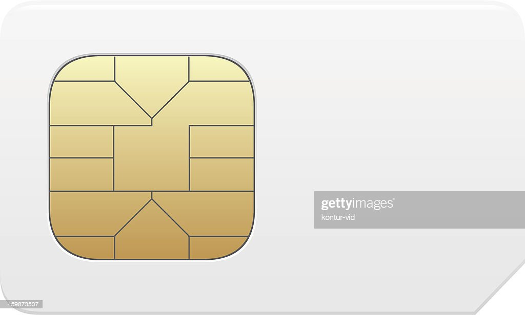 Close-up of a vector SIM card in gold and white