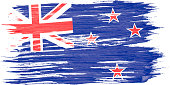 Closeup of art brush watercolor painting New Zealand flag blown in the wind.