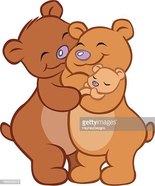 Close-up of bear family embracing