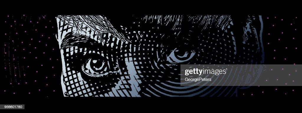 Close-up of Female superhero villain eyes : stock illustration