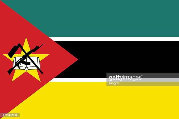close-up of flag of mozambique - mozambique stock illustrations, clip art, cartoons, & icons