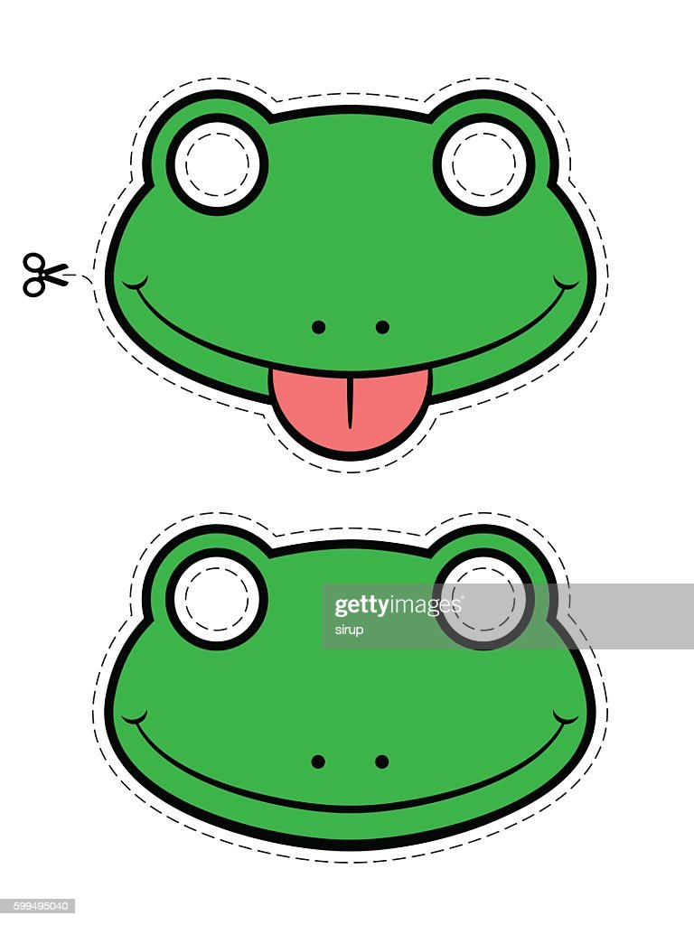 Close-up of green frog masks over white background