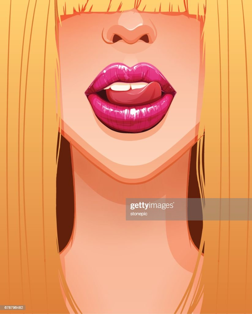 Close-up of sexy blonde woman's mouth licking her beautiful pink lips