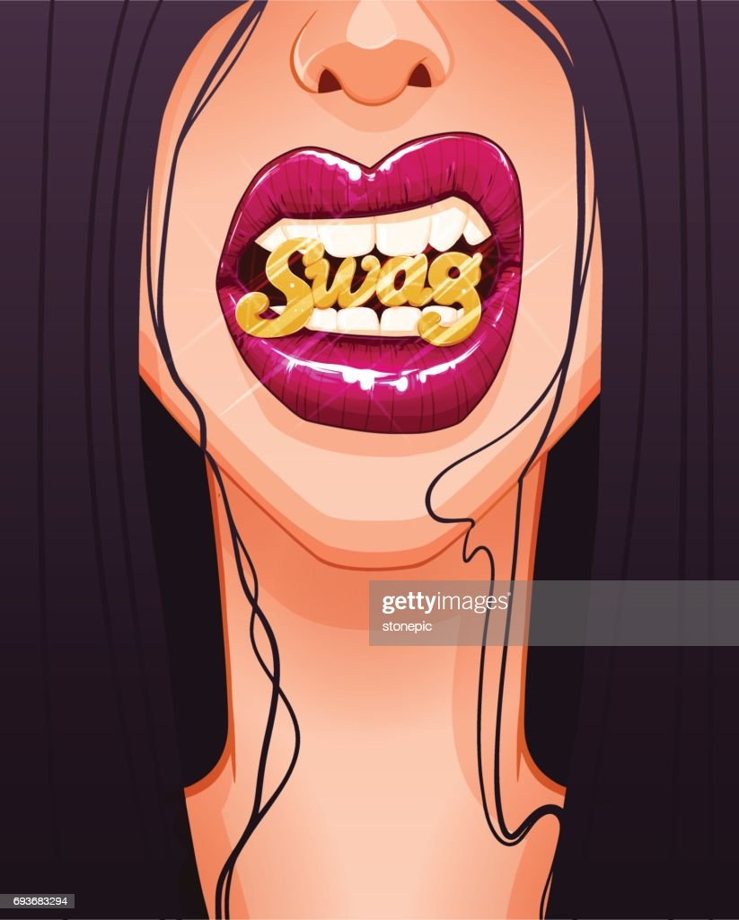 Close-up of sexy woman's face with full red lips biting gold SWAG badge