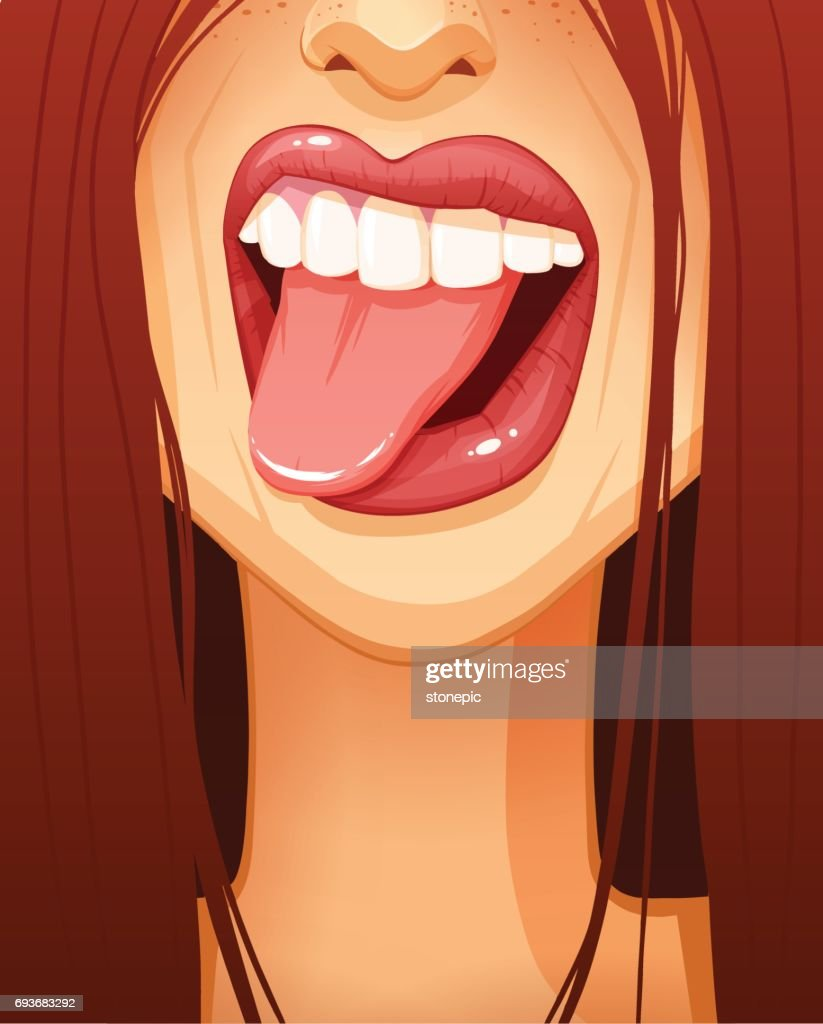 Close-up of sexy woman's mouth sticking her tongue out