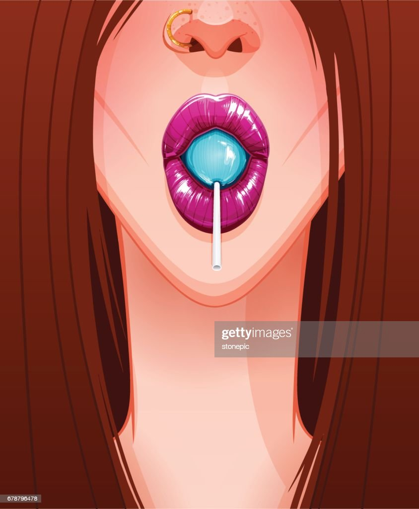 Close-up of sexy woman's mouth with beautiful pink lips sucks a lollipop
