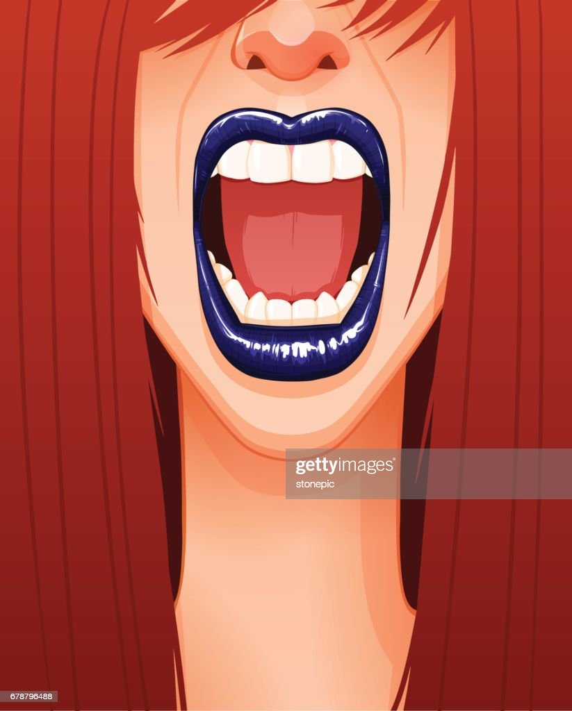 Close-up of sexy woman's screaming face with blue lips and opened mouth