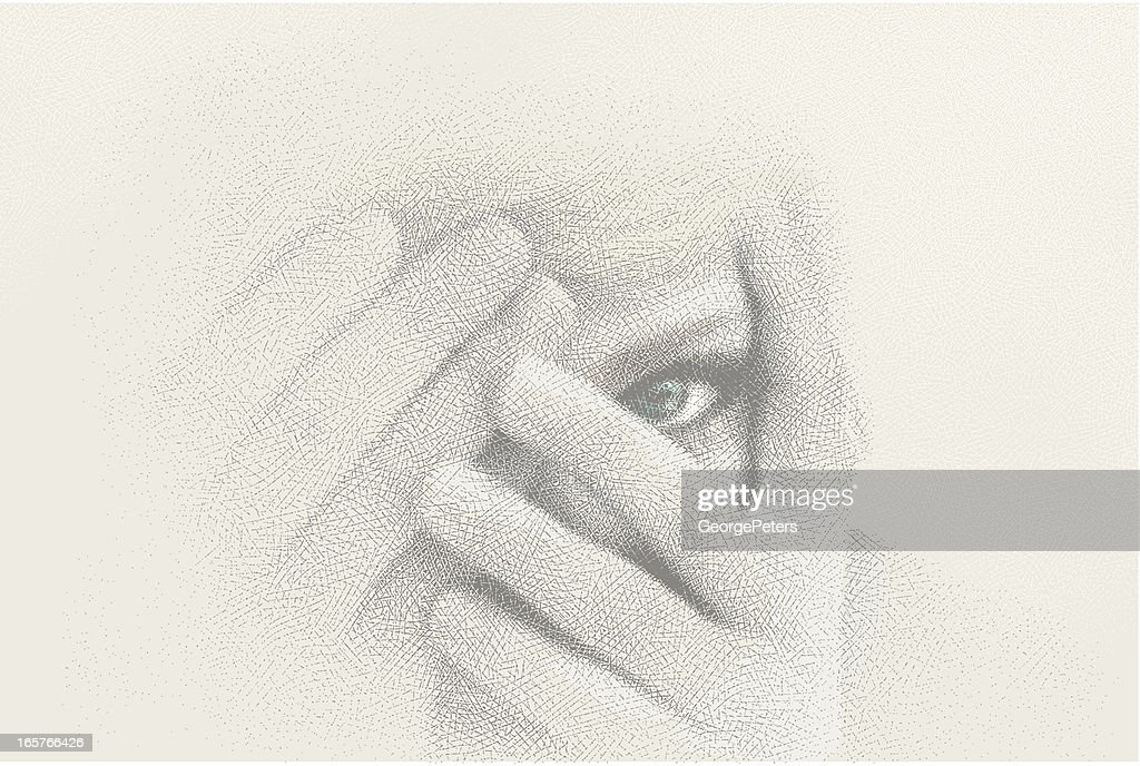 Close-Up of Woman Peeking Through Fingers : stock illustration