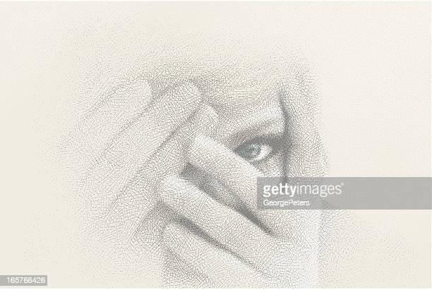 close-up of woman peeking through fingers - hidden stock illustrations, clip art, cartoons, & icons
