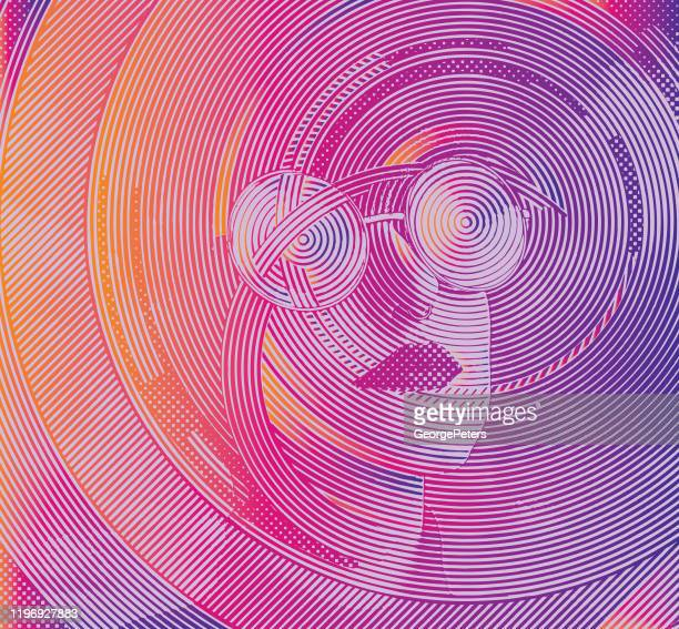 close-up of woman's face with cloud patterns - hope concept stock illustrations