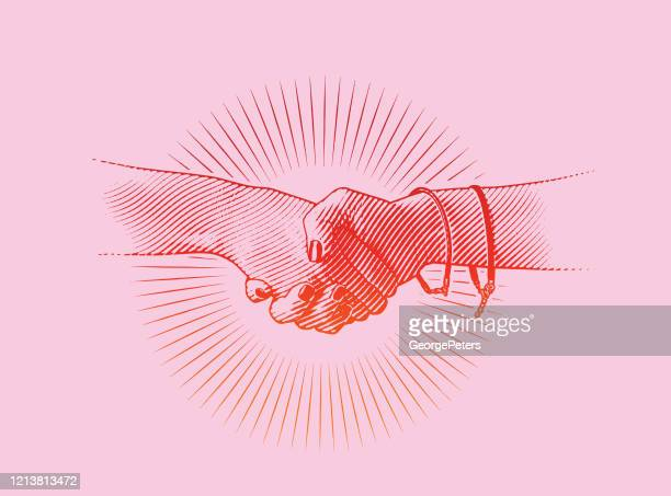 close-up of women shaking hands - shaking stock illustrations