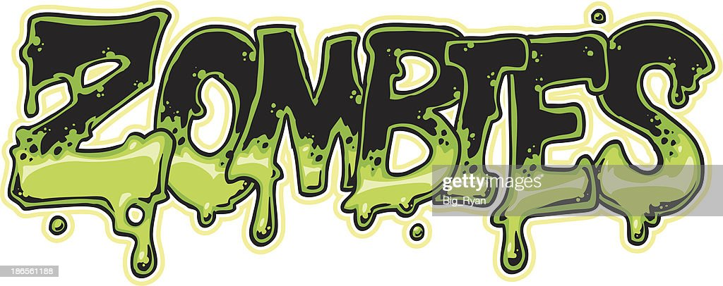 Close-up of zombies in green and black font : stock illustration