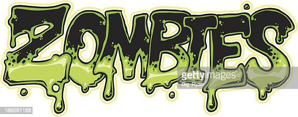 close-up of zombies in green and black font - zombie stock illustrations, clip art, cartoons, & icons