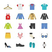 Cloth and Accessory Flat Color Icons