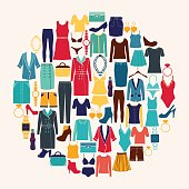 Clothes and accessories Fashion icon set.