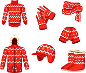 Clothes at christmas holiday style. Vector illustrations for winter season