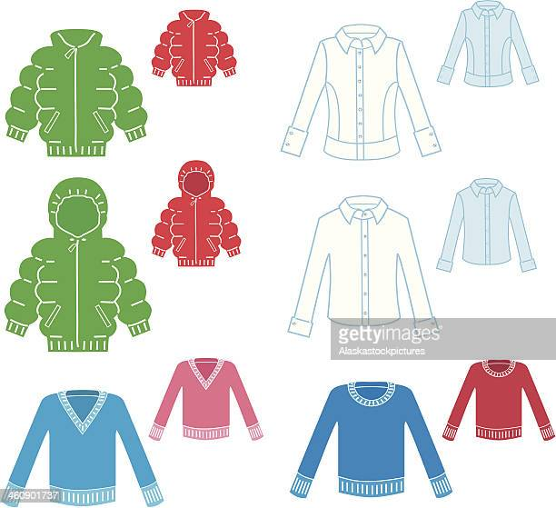 clothes (6varios; colored).clothes organisation. - sweater stock illustrations, clip art, cartoons, & icons