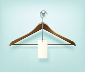 Clothes Coat Brown Wooden Hanger with Sale Blank Label Isolated