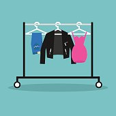 Clothes hanging in a row on the open hanger. Clothes rack. Rail. Wardrobe / flat editable vector illustration, clip art