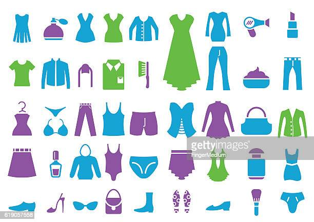clothes icon set - jersey fabric stock illustrations