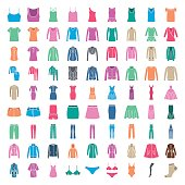Clothes icons. Icons women fashion clothes. Colored silhouette