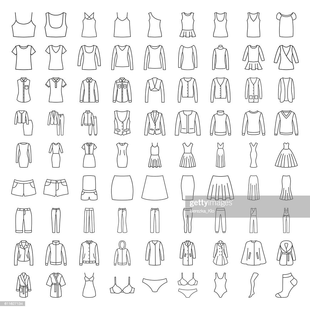 Clothes icons. Line icons women fashion clothes