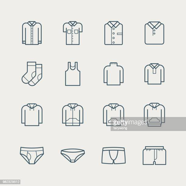 clothes icons - underwear stock illustrations, clip art, cartoons, & icons