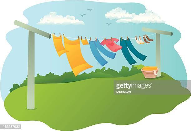 clothes line - währung stock illustrations