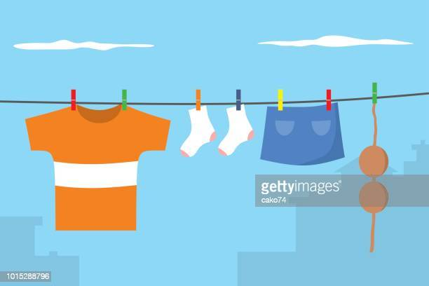 clothes on washing line - clothing stock illustrations