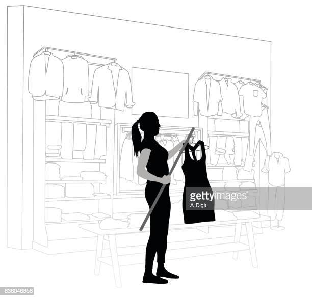 clothes outlet employee - retail employee stock illustrations