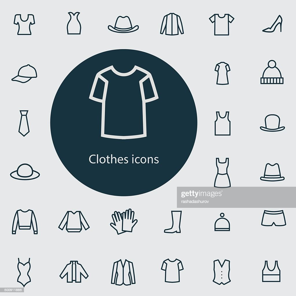 clothes outline, thin, flat, digital icon set