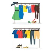 Clothes Racks with Wear on Hangers Set. Vector