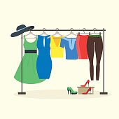 Clothes Racks with Women Wear on Hangers. Vector