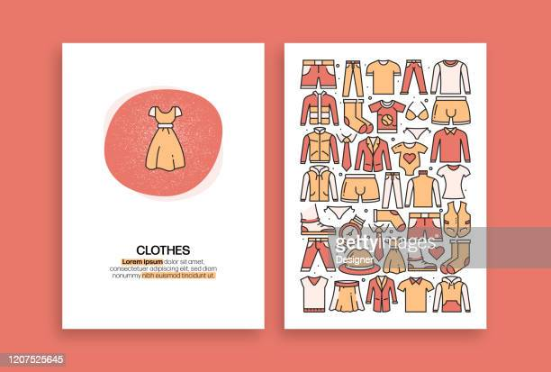 clothes related design. modern vector templates for brochure, cover, flyer and annual report. - satin pants stock illustrations