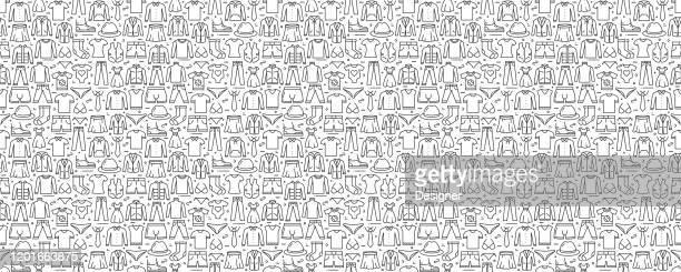 ラインアイコン付きの服関連のシームレスなパターンと背景 - 服装点のイラスト素材/クリップアート素材/マンガ素材/アイコン素材
