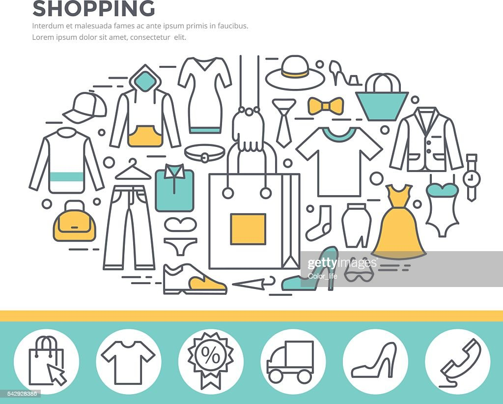 Clothes shopping concept illustration.