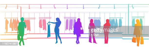 clothes shopping mall rainbow - pink dress stock illustrations