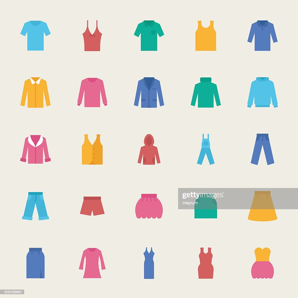 Clothes vector icons set, flat style