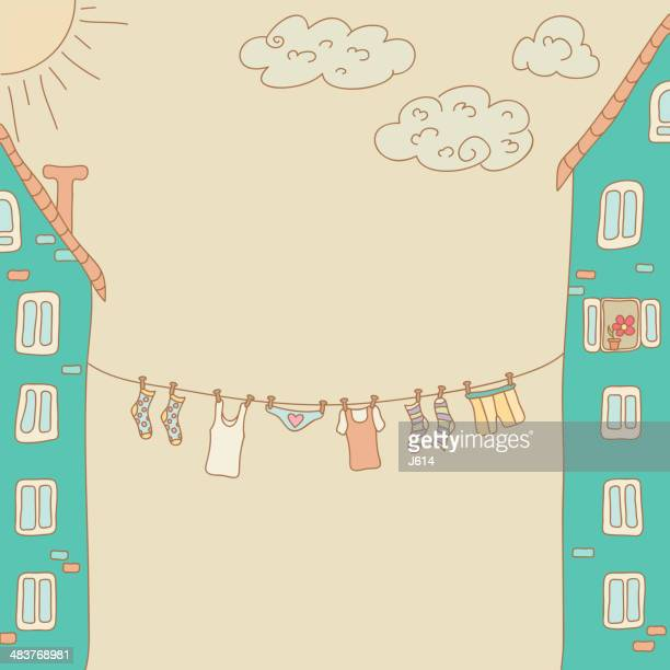 clothesline doodle - underwear stock illustrations, clip art, cartoons, & icons