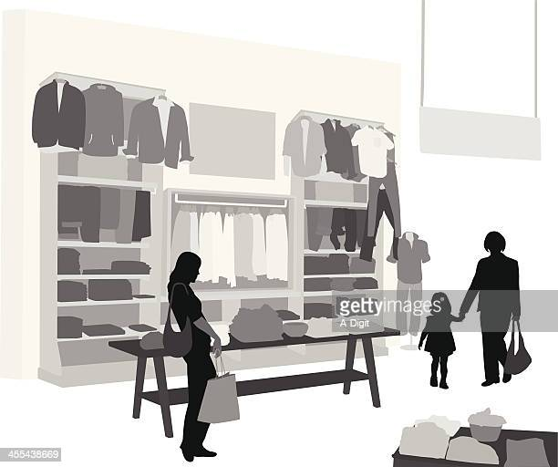 clothes'n people vector silhouette - retail display stock illustrations, clip art, cartoons, & icons