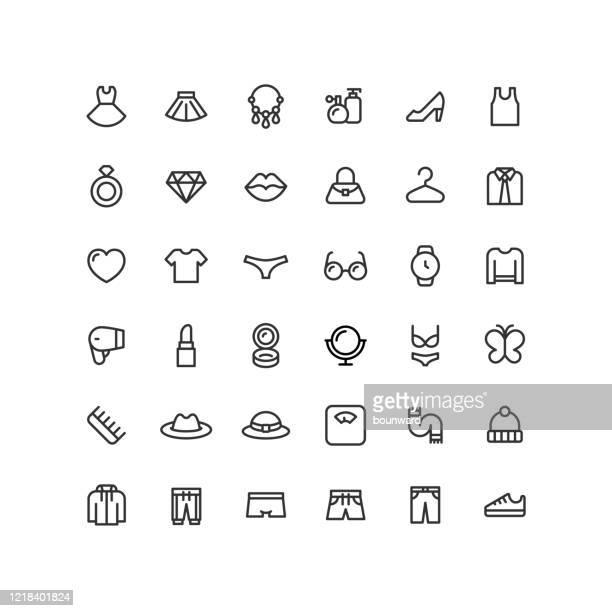 ilustrações, clipart, desenhos animados e ícones de ícones de contorno de roupas e acessórios - roupa de mulher