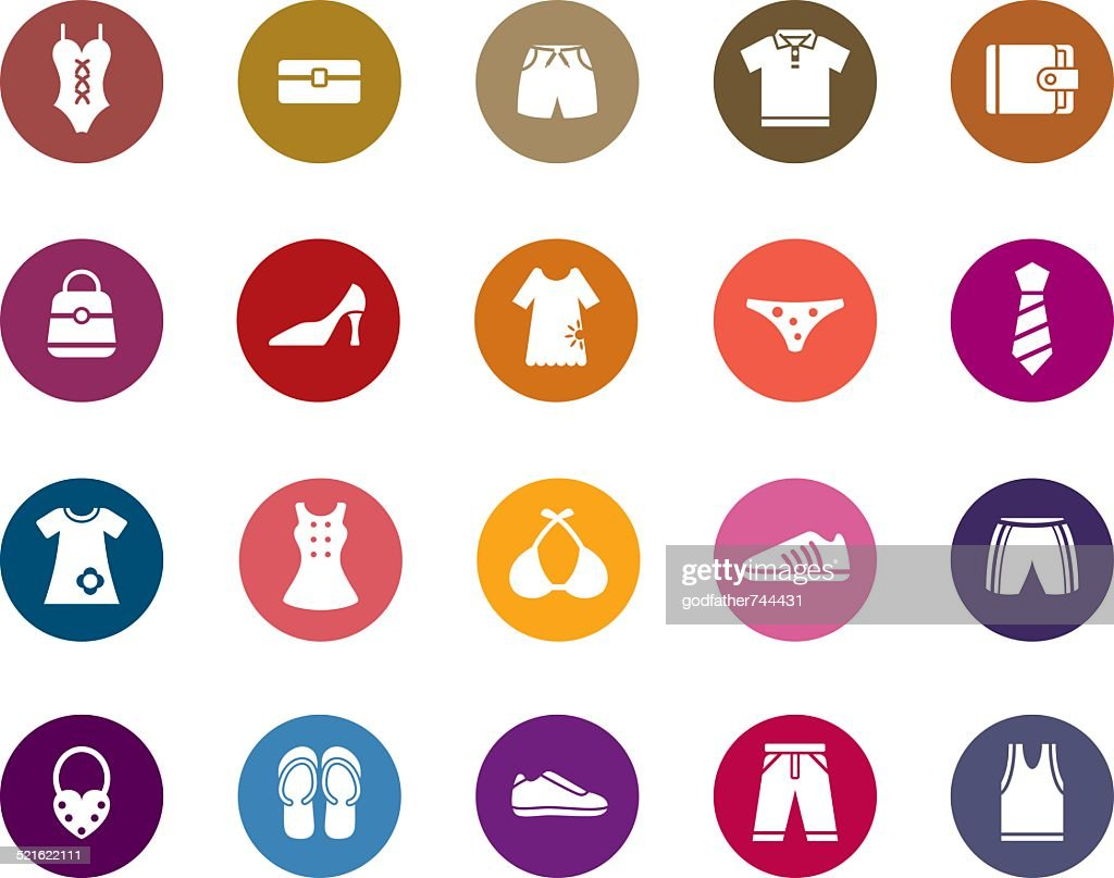 Clothing and Accessories Color Icons